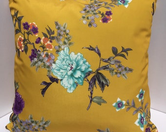 Mustard Yellow with Large Blue Floral Print Decorative pillow cover 22x22