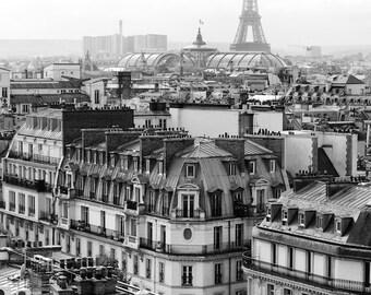 Paris black and white photography, Eiffel Tower, Paris rooftops, Paris photography, black and white photo, Paris decor, fine art print
