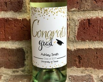 Graduation Wine Label - Custom Graduation Gift - Personalized Gift for Graduate - Class of 2018 - Congrats Grad