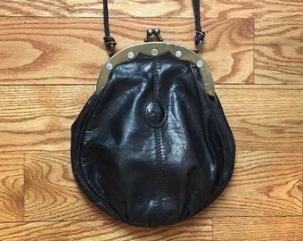 1970s black leather shoulder bag