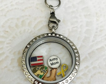 Army Mom Large 30mm stainless steel memory locket with crystals and choice of chain