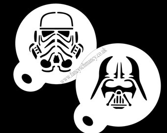 Coffee Duster Star Wars Darth Vader and Stormtrooper 350 Micron Mylar Stencil Approx 8.5cm