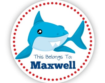 Name Label Stickers - Ocean Shark Sticker, Red Dot, Shark Personalized Name Tag Sticker Labels, This Belongs To - Back to School Name Labels