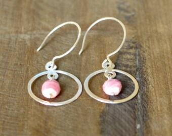 Handmade Rhodochrosite Earrings, Hammered Sterling Silver Jewelry