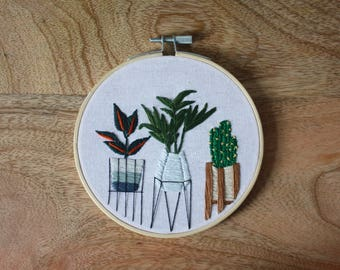 Plant stands handmade embroidery hoop art