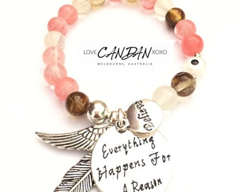 Believe everything happens for a reason angel wing and feather charms