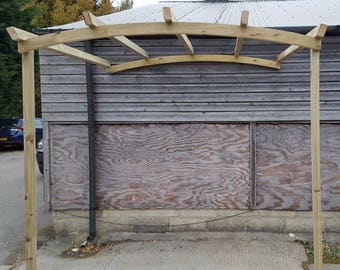 Lean To Arch Top Pergola - Garden Wooden Lean Too Car Port Pergola