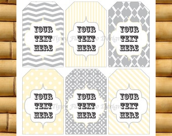 Gift Tags, Thank You Tags, Name Tags, Place Cards, Gifts, Printables Grey and Yellow – Instant Download - TFD223