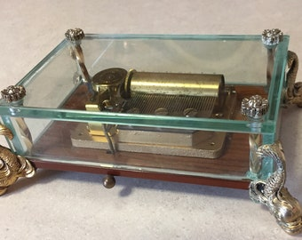 Rare Reuse Clear Glass Music Box