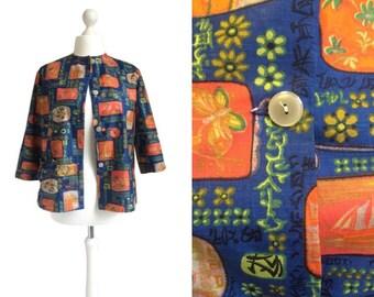 Novelty Print Jacket - Vintage Jacket - Blue And Orange Chinese Print Jacket