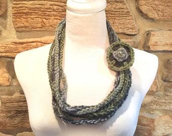 Green and gray scarf, chain scarf, fashion scarf, art scarf, multi medium scarf, green scarf necklace, gray scarf, light weight scarf