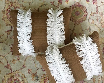 Woven Pillow with Fringe / Boho Fringe Pillow