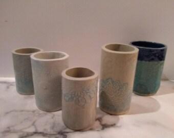 Handmade ceramic cylinder vases