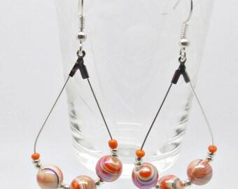 Orange Earrings, Boho Earrings, Beaded Earrings, Prom Earrings, Party Earrings, Glamorous Earrings, Evening Earrings, Bright Earrings