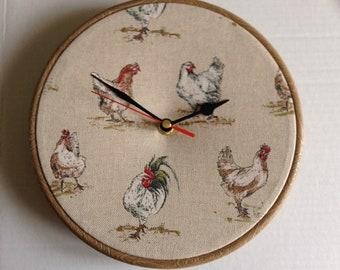 Chicken Hen Linen Look Fabric Covered Wall Clock