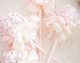 Flower Girl Wand, Pink Flower Girl, Princess Wand, Alternative Wedding, Pink Paper Flowers, Paper Flowers