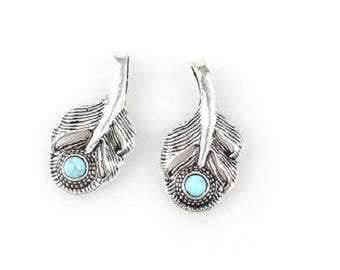 Charm / pendant feather 36x18mm turquoise cabochon and metal