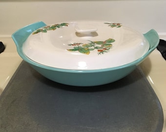 50s tureen duck egg blue, floral