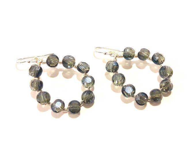 Smoky Blue Crystal Hoop Earrings