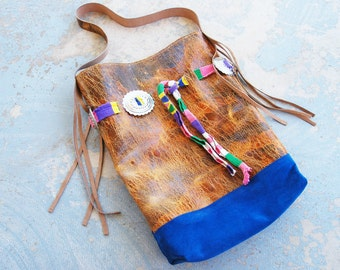 Southwestern Leather Bag - Oversized Boho Brown and Blue Concho Purse