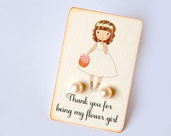 FLOWER GIRL real pearl studs - genuine pearls earrings sterling silver - 7mm 6mm or 3mm - dutchpearl bridesmaid heart wedding favor