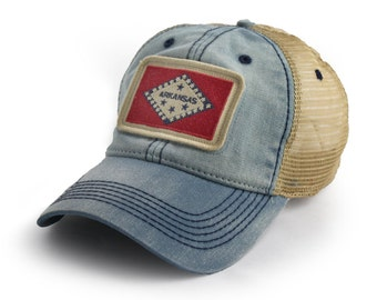 Arkansas Flag Patch Trucker Hat, Americana Blue