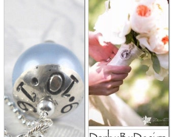 Bridal Bouquet Pearl Charm, Something Blue Charm, Bridal Shower Gift Bridal Jewelry, Listing  INCLUDES: stamped PEARL & Lobster CLASP only.