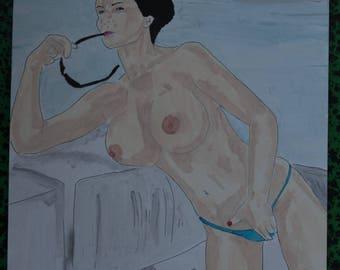 "female nude acrylic painting ""Cruise"" signed G.Vanspey A4 drawing"