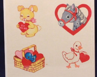Vintage Sangamon Holiday Self Adhesive Stickers. 12 Valentine Stickers in each Sealed Package