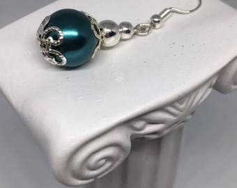 Faith2 - Silver Plated Earings//Teal Glass Pearl Earings//Victorian Style//Handcrafted Earings//Valentines Gift//Ladies Earings//Victoriana