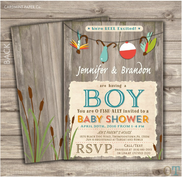 Fishing Baby Shower Invitations Boy Shower It\'s a Boy