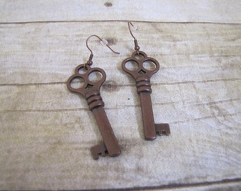 Antiqued Copper Skeleton Key Earrings