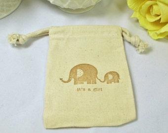 Muslin Favor Bags/Muslin Girl Baby Shower Favors/Elephant Shower Favor Bags/ Baby Girl Cotton Favor Bags/Drawstring Favor Bags/Favor Bags