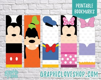 Mickey Mouse Clubhouse Printable Bookmarks, Set of 5 designs | Favor, Minnie, Donald, Daisy, Goofy, Disney | JPG File, Instant Download