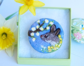 Easter Rabbit brooch, Flower pin, Needle felted brooch, 'Whispers of Spring', Wool, Felt Brooch, Gifts for her, Cherry Blossom jewellery,