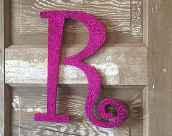 "Decorative 12"" Fuschia Monogram, Girls Bedroom Wall Decor, Letter Wreath, Initial, Wedding Decor, Holiday Decor, Front Door Letter,"