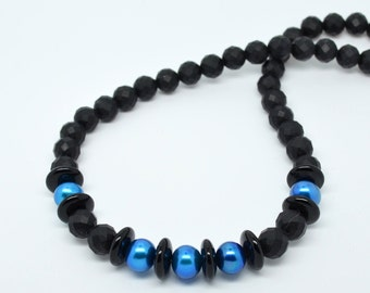 Black Faceted Onyx and Blue Freshwater Pearl Necklace with Lobster Clasp. 17 Inch