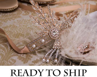 Flapper Headband Great Gatsby Headband Daisy Buchanan Costume Wedding Headband Bridal Hairpiece Great Gatsby Costume 1920's Headband