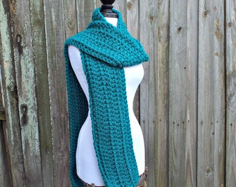 Womens Oversized Crochet Chunky Scarf - New Englander Peacock Blue Scarf - Womens Accessories Fall Fashion Winter Scarf - 34 Color Choices