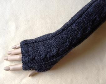 Luxury Hand Knitted Extra Long Soft Merino Wool Fingerless Gloves/Mittens Arm Wrist Warmers, Shale (Dark Grey)