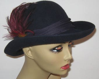 felt hat . midnight blue hat  .midnight blue felt hat . blue hat with feather
