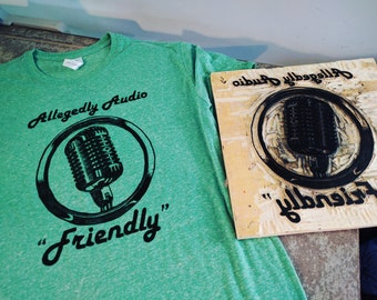 "Allegedly Audio ""Friendly"" - woodcut print shirt"
