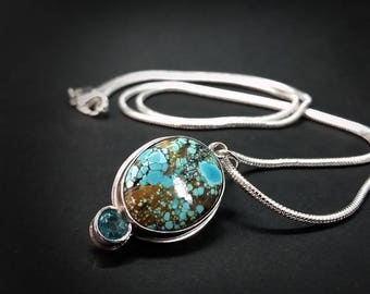 Himalayan Turquoise Pendant with Apatite Gem