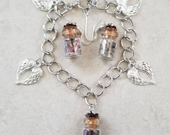 Guardian-angel Respiratory system  and Lung Strength Earth Goddess Charm Bracelet and Earring set