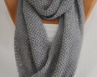 Hand Knit Gray Sparkly Infinity Scarf Fall Scarf Winter Scarf Neck Warmer Women's Fashion Accessories Holiday Gift Ideas For Her ESCHERPE