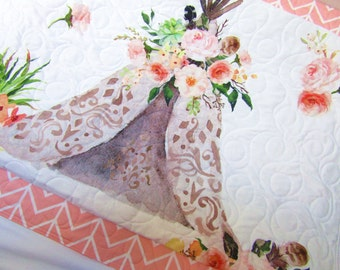 Baby Girl Quilt, Teepee Quilt, Pink Baby Bedding, Boho, Buck and Antler Crib, Quilted Blanket, Aztec Style Nursery, Watercolor Fabric