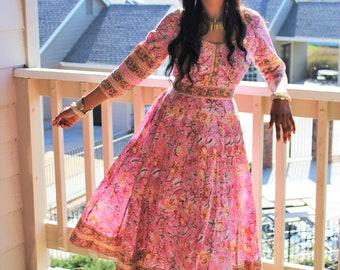 Bohemian Blockprint Midi Anarkali Gypsy Dress