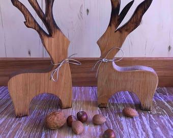 Solid oak reindeer