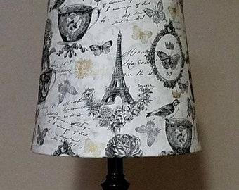 ON SALE Coffee Paris lamp shade, Coffee decor, fabric Lampshade, Paris lamp shade, wrapped lampshade, shabby chic, gift for her,  custom sha