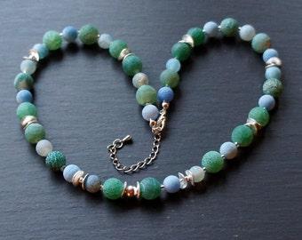 Agate necklace blue agate Silver Jewelry Accessories glacier dream necklace